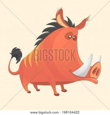 Wild boar or wild pig cartoon. Vector illustration isolated on white