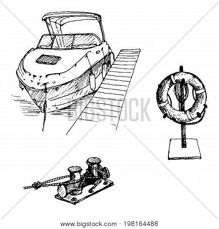 vector line drawing boat and life buoy, hand drawn illustration