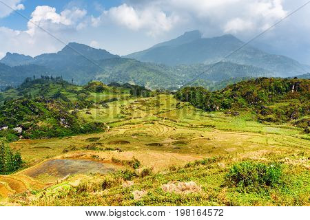 Scenic View Of Highlands In Sa Pa, Lao Cai Province, Vietnam