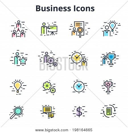 Set of business icons in line flat vector design. Corporate symbols for training coaching HR time management etc. Minimalistic financial and entrepreneur signs.