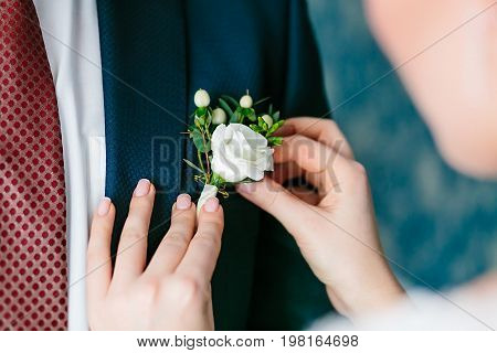 Close up bride's hands pinning boutonniere to groom' jacket. Wedding preparation