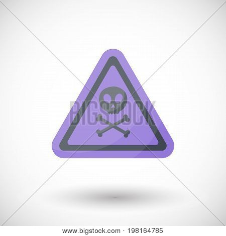 Aware sign vector flat icon Flat design of danger alert triangle symbol with skull and crossbones isolated on the white background cute vector illustration with reflection