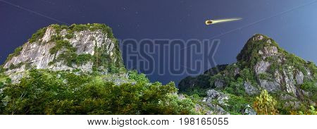 Mountain and stars in the National Park of Phong Nha Ke Bang, Vietnam.