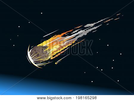 Falling asteroid with long fiery tail in the night sky