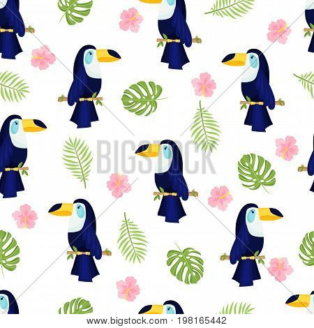 Tropical parrot pattern. Seamless decorative background with parrot and flowers. Bright summer design on a white background . Vector illustration