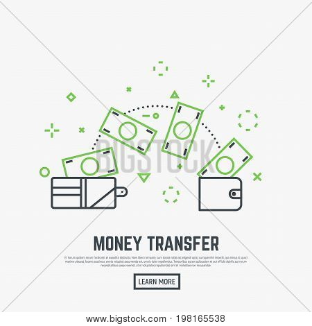 Money transfer concept. Two leather wallets with banknotes transferring. Receiving and sending money from one wallet to another. Modern line style vector illustration.