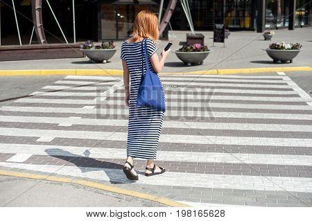 Shapely Woman Walking Trough Crossroad 06