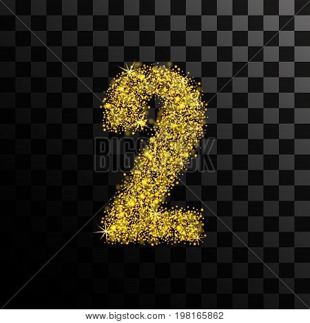 Number two of gold glitters and glitter. Vector illustration on a transparent dark background.