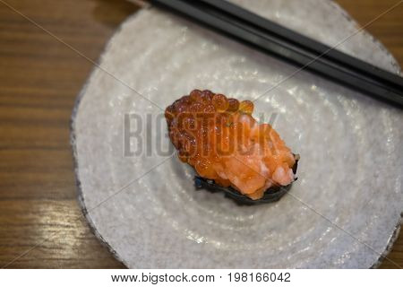 Traditional japanese food Salmon roe or Ikura