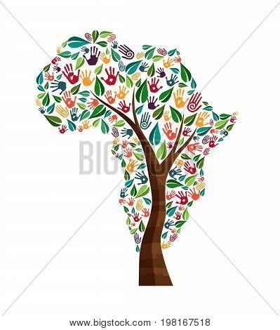 Africa Hand Print Tree Symbol For World Help