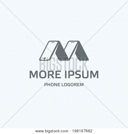 Gray phone logo template. Several phones rely on each other look like the letter M. Isolated vector icon with text for mobile on a white background.