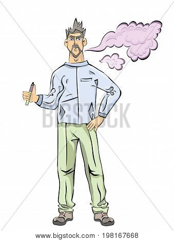 Young Men with beard vaping or smoking. Cloud of vapor. Vector illustration, isolated on white background.