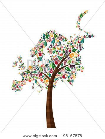 Europe Hand Print Tree Symbol For World Help
