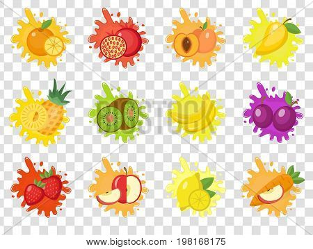Fruits splash set of labels. Fruit splashes, drops emblem.Isolated on a transparent background. Splash and blot kit. Vector illustration