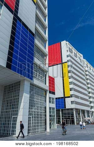 The Hague The Netherlands - July 15 2017: The Hague City Hall with piet mondriaan anniversary design.