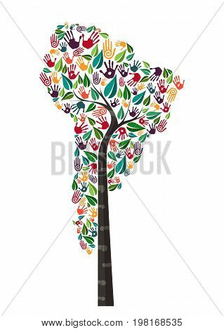 South America Hand Print Tree Symbol World Help
