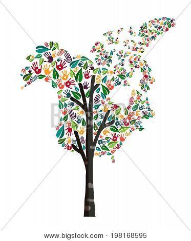 North America Hand Print Tree Symbol World Help