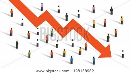 arrow down crisis economy people crowd around people falling chart economy investment vector