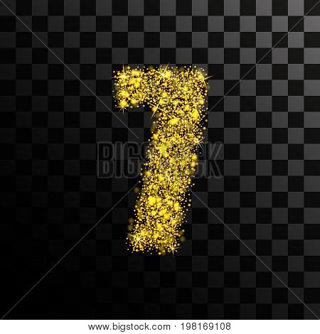 Number seven of gold glitters and shine. Vector illustration on a transparent dark background.