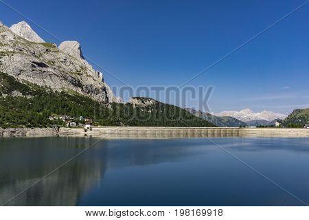 Beautiful scenery of Lago di Fedaia. Dolomites. Italy.