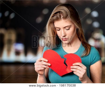 Beautiful heart woman broken view person human