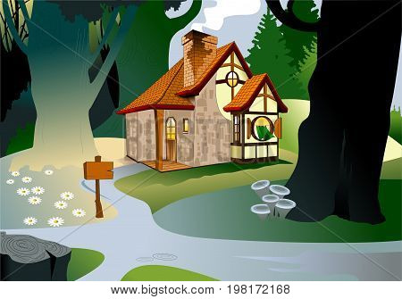 Little fairytale house with a tiled roof house illustration