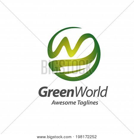 circle green world with letter w and leaf logo concept vector