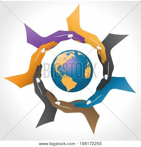 Hands surrounding earth vector, circle social hand color with earth inside logo
