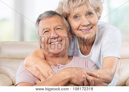 Couple elderly hugging two people senior adult heterosexual couple years