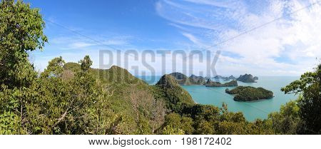 Panorama view of ang thong Island.Archipelago in Thailand.