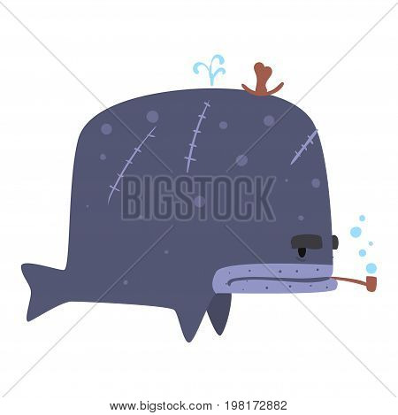 Funny cartoon whale pirate smoking pipe colorful character vector Illustration on a white background
