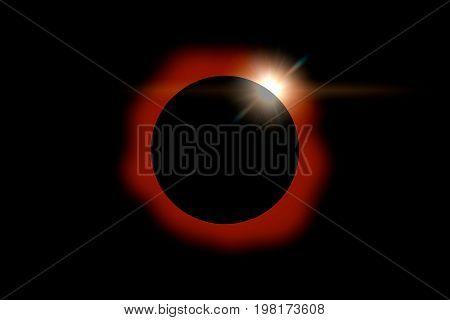 Solar Eclipse On Dark Sky