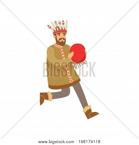 Shaman character in national clothes dancing with a tambourine, authentic ritual vector Illustration on a white background