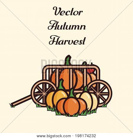 Vector illustration of a cart filled with crop: pumpkins and apples. Autumn harvest.