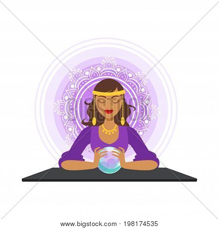 Fortune teller forecasting with the ball, occult ritual vector Illustration on a white background