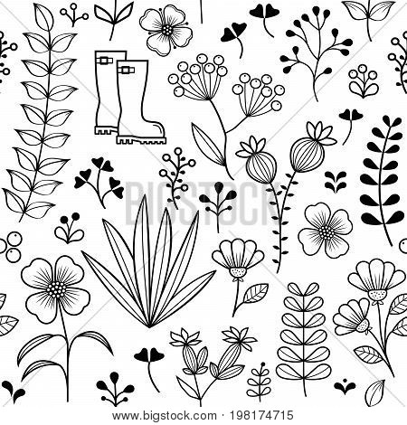 Botanical seamless pattern, hand drawn wild flowers and herbs design