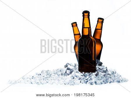 Ice bottles beer bar color white background