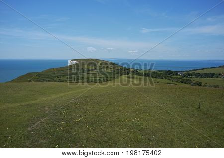Rural landscape and cliffs on Tennyson Down on the Isle of Wight, off the south coast of the United Kingdom.