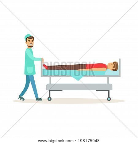 Emergency doctor transporting injured man on emergency medical stretcher, first aid vector Illustration on a white background