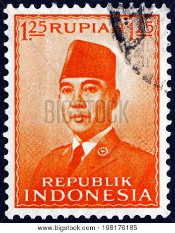 INDONESIA - CIRCA 1953: a stamp printed in Indonesia shows President Sukarno 1st President of Indonesia circa 1953