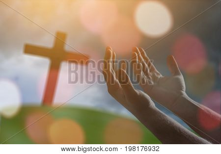 Human hand pray sky day sign outdoors