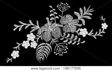 Tropical embroidery flower arrangement. Exotic plant blossom summer jungle. Fashion print textile patch. Hawaii hibiscus plumeria vector illustration art