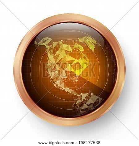 Radar Icon Vector. Realistic Surveillance Radar Screen Illustration On Round Metal Frame. North America. Map