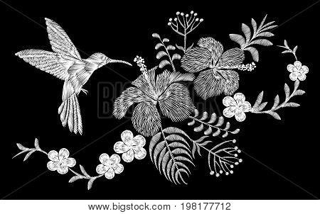 Hummingbird tropical embroidery flower arrangement. Exotic palm plant blossom summer jungle. Fashion print textile patch. Hawaii hibiscus plumeria vector illustration art
