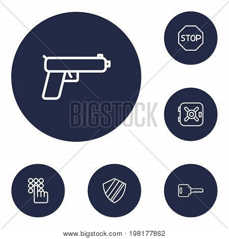 Collection Of Keypad, No Entry, Weapon And Other Elements.  Set Of 6 Safety Outline Icons Set.