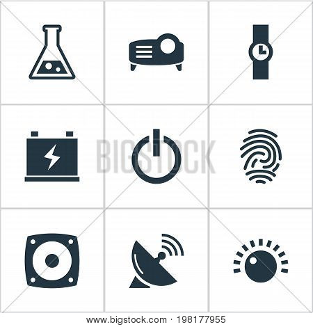 Elements Satellite Antenna, Thumbprint, Volume Control And Other Synonyms Charge, Control And Sputnik.  Vector Illustration Set Of Simple Hitech Icons.