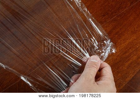 wrapping plastic transparent food film close up