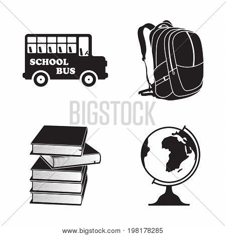School isolated element icons set, black and white vector illustration. Bus, backpack, books and globe symbols hand-drawn design, doodles style school set.