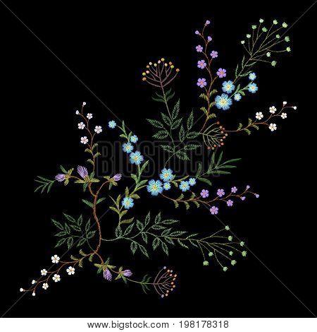 Embroidery trend floral pattern small branches herb leaf with little blue violet flower. Ornate traditional folk fashion patch design neckline blossom black background vector illustration art