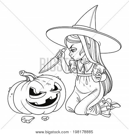 Sweet Girl In Witch Costume Sitting On The Floor With A Knife And Cut The Lantern From A Pumpkin Out